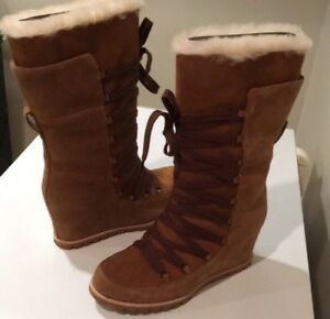 d29de6a05a6 Details about NEW UGG Mason Laced Up Chestnut Suede Tall Wedge Boots Sz 7.5  ❤️