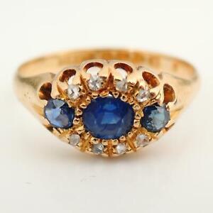 1902-Antique-18Ct-Yellow-Gold-Sapphire-amp-Diamond-Three-Stone-Ring