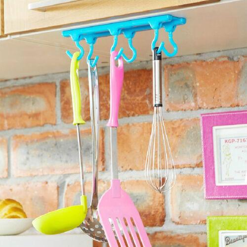 Neu Handtuchhalter Küchenutensilien 6 Haken Halter Organizer Lagerrega  TbMVD ZF
