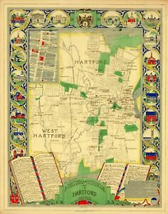 1933 pictorial map Cultural and Historical Map of Hartford ...