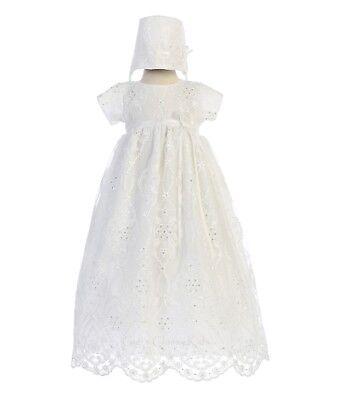 Baby Flower Girls White Silk Tulle Gown Dress Bonnet Christening Baptism Infant