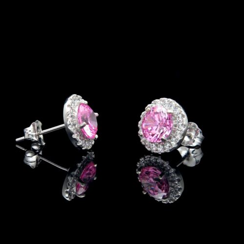2CT Halo Pink Created Diamond Earrings 14k White Gold Round Cut Rose Studs