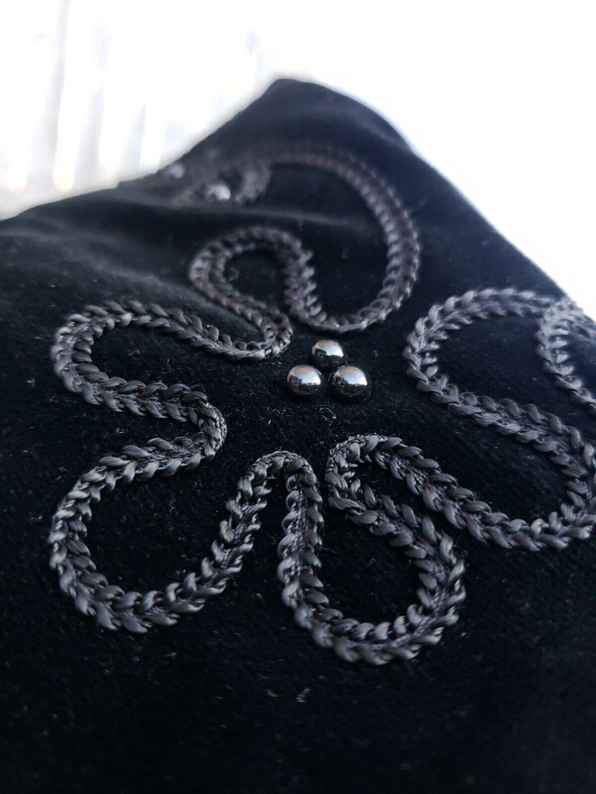 Vtg Donnybrook Black Velvet Embroidery Edwardian … - image 3