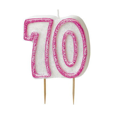 70th Birthday Glitter Candle Party Decoration