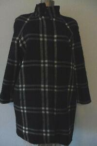 esprit collection wolle-mix mantel jacke schwarz weiß grau