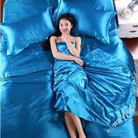 100% Silk Duvet Cover Fitted Sheet Pillow shams Summer Fashion Bedding 4 Pics