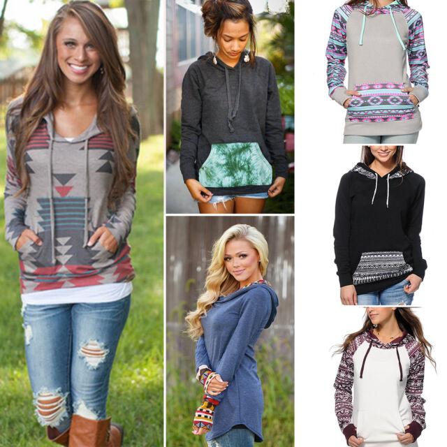 Womens Pocket Hoody Hoodies Long Sleeve Hooded Sweatshirt Pullover Jumper Tops
