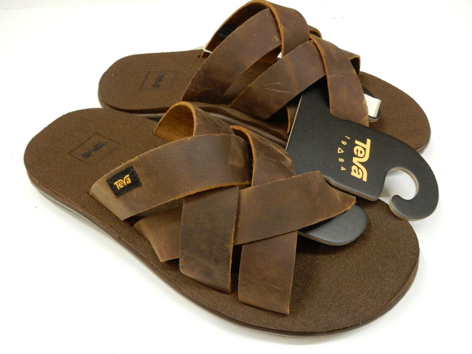 Teva Mens Voya Slide Leather Pecan Size 8