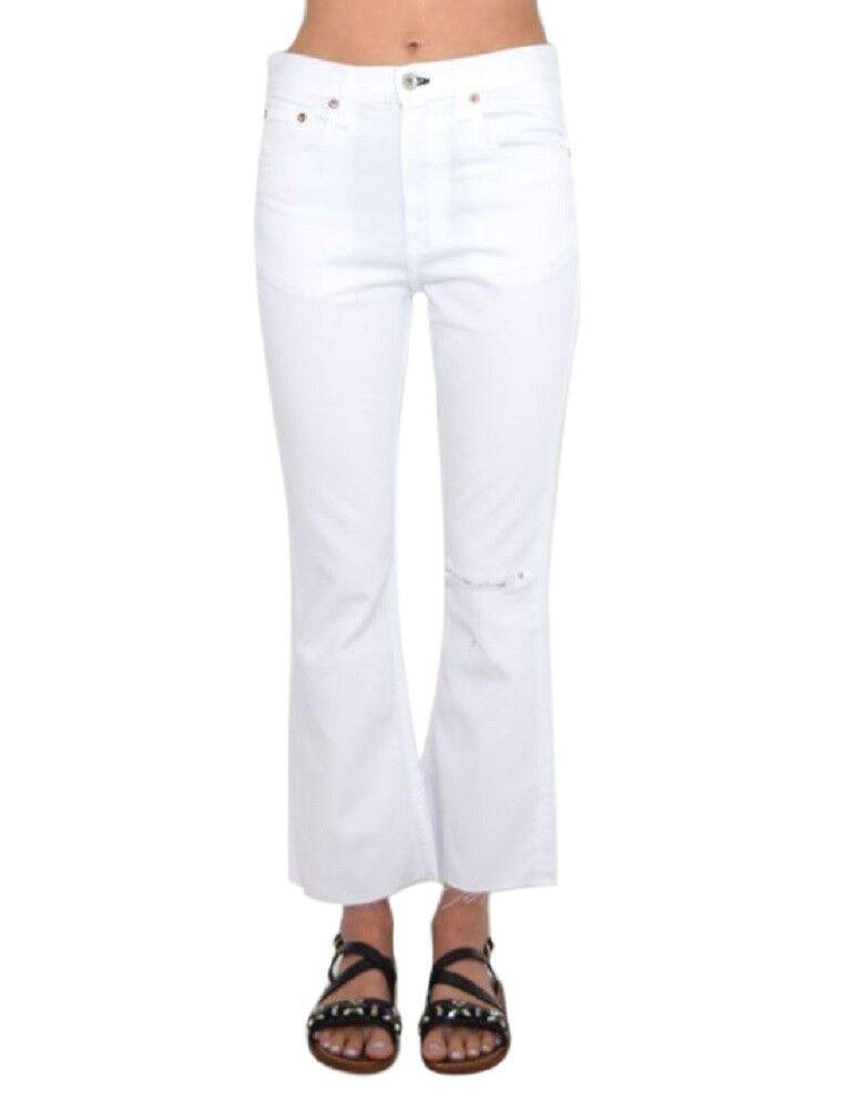 Trasa och ben vit Crop Jeans With Holes 29