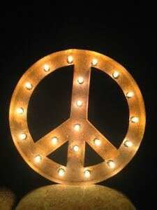 Image Is Loading New Rustic Metal Peace Sign Light Marquee