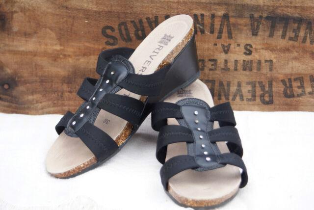 WOMEN'S RIVERSOFT SANDALS Slides Black Sz 38 Ladies shoes