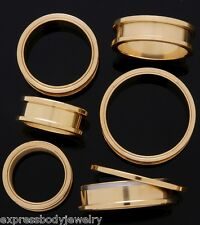 "1 PAIR 11/16"" 18mm 14k Gold Plated Screw Ear Plug Tunnels Gauges  BC 3"