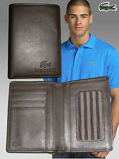 New Authentic LACOSTE LEATHER WALLET City Classic 20 Brown Doc & CC Holder