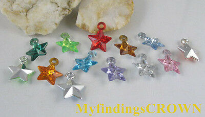 350 pcs Mixed colour star acrylic charms W1739