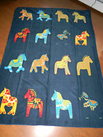 Scandinavian Swedish Dala Horse Navy Fleece Blanket Throw Afghan 51 X 70