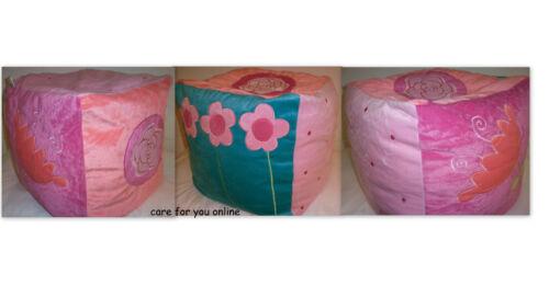 Kindersitzsack Sitzsack Sitzhocker Patchwork Würfel Prinzessin Blumen  pink