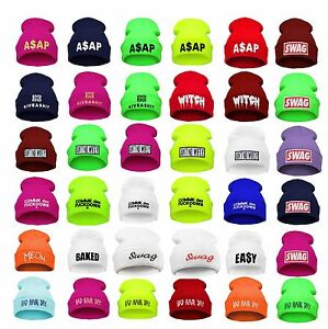 Details about BEANIE HAT WASTED YOUTH Bad Hair Day Day Swag Cash Witch Meow  Baked ASAP Ain t 725de33822f