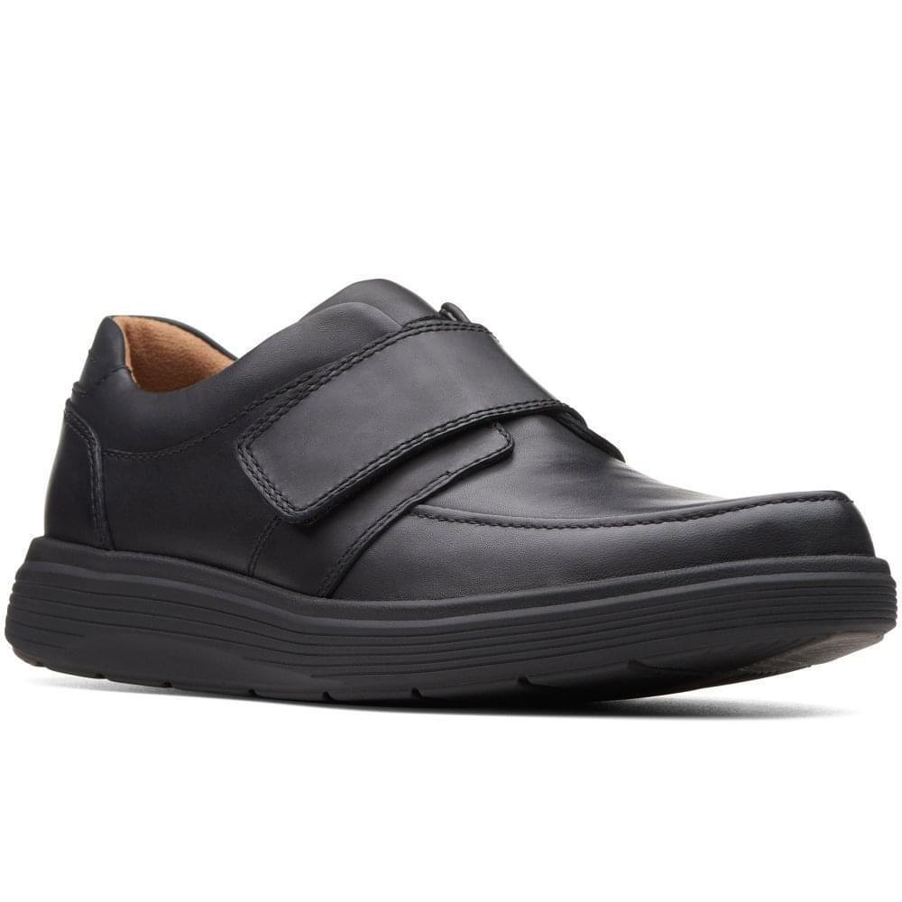 Clarks Un Abode Bracelet Homme Cuir Noir grand Fit Léger Touch Attache Chaussure