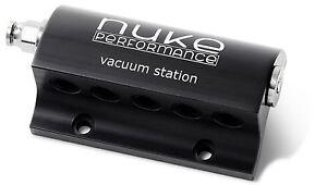Nuke Performance Billet cnc Vacuum Station 5 Outputs Black, turbo, supercharger