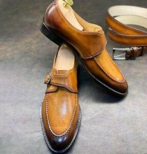 Men-039-s-Brown-Handmade-Lustre-Toe-Single-Monk-Strap-Chaussures-en-cuir-avec-ceinture