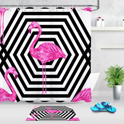 72x72/'/' Black White Stripe Flamingo Shower Curtain Waterproof Fabric 12 Hooks