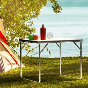 Folding Picnic Camping Table Outdoor BBQ Dining Trestle Portable Garden Aluminum