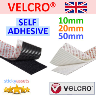 VELCRO® BRAND 10mm BLACK SELF ADHESIVE HOOK /& LOOP STICKY BACK TAPE PS14