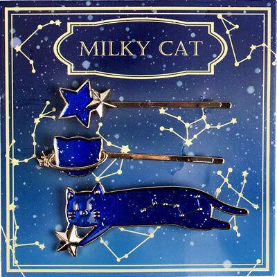 3 Pcs Lolita Girls Star Cats Starry Starlit Sky Blue Hair Clip Hair Pin Gift New