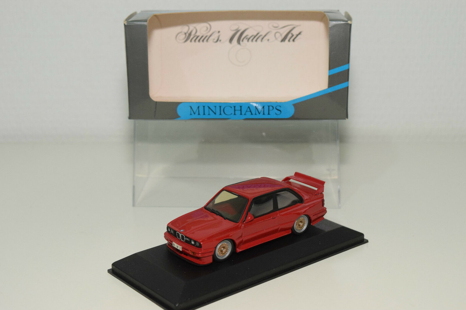 MINICHAMPS BMW M3 E30 STREET VERSION Rojo RARE HUBS MINT BOXED RARE SELTEN RARO