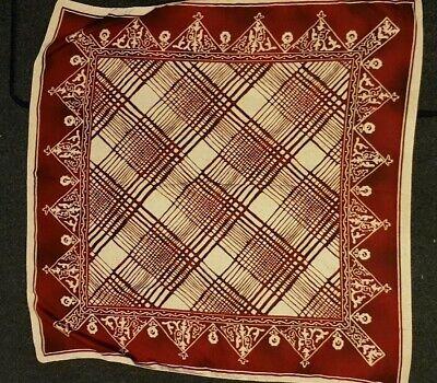 """Sciarpa Di Seta Rosso Batik Stampa Made In Italy 34"""" Quadrato Ottime Condizioni-mostra Il Titolo Originale"""