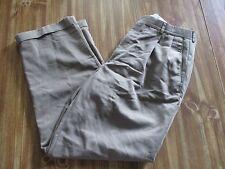 Men's 34 x 30 Haggar dress pants slacks poly rayon pleated cuffed light brown
