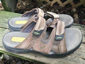 Details about Clarks Wave Mens Sandals Slides Sz 10 Brown Leather Double Straps Velcro Comfort