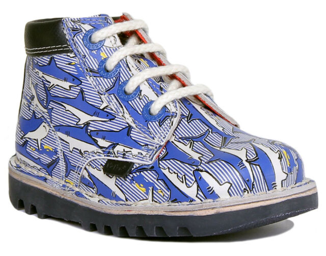 Kickers Kick Hi Joules Print Boys Infant Leather Lace Up Boots