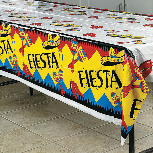 Mexican Table Cover...Fiesta...Chili...Maracas...Sombrero...Gala...Table Cloth