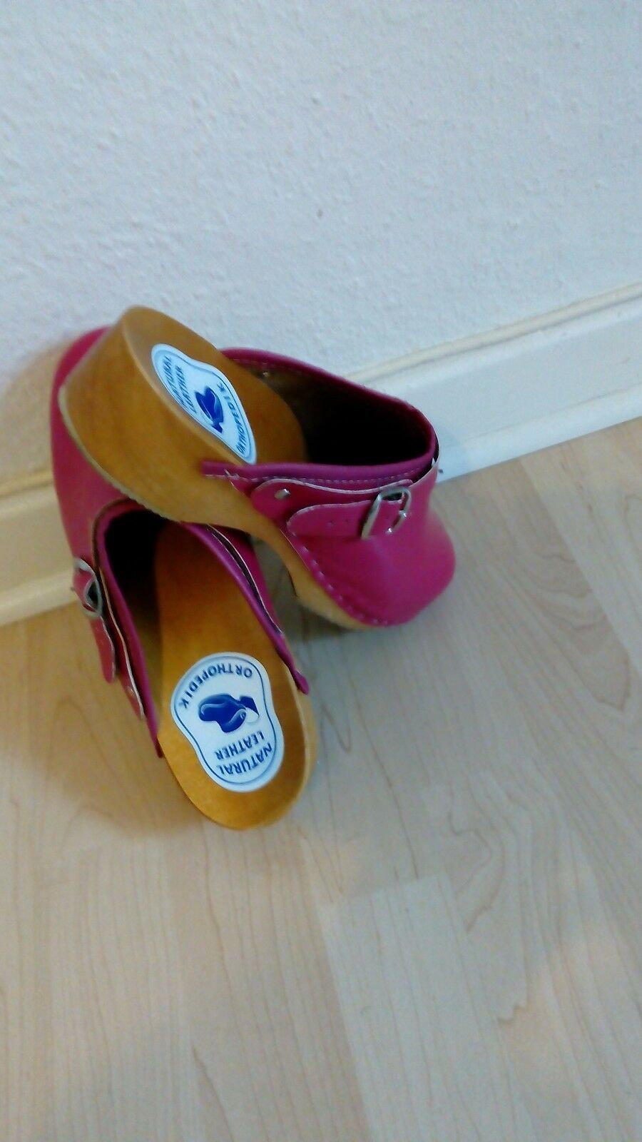 PURE NATURAL LEATHER ORTHOPEDIC SLIP ON WOODEN SLIPPERS-PINK-ROSE COLOR SIZE 38