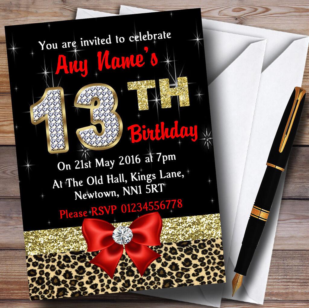 Losange rouge et imprimé léopard anniversaire 13e anniversaire léopard party invitations personnalisées 5eb728