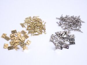 20-Stueck-Mini-Scharniere-10-5-x-8mm-Messing-mit-Naegeln-fuer-Modellbau-Schatulle
