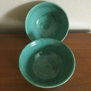 Two-2-Glazed-Pottery-Bowls-Handmade-and-Signed-Made-in-USA