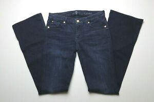 7-For-All-Mankind-Womens-A-Pocket-Blue-Jeans-Size-30-Dark-Wash-Flare-Leg