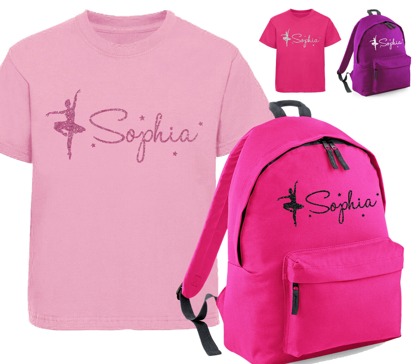 beyondsome Personalised Girls Kids Purple Ballet Shoes Hoodie /& Baby Pink Dance Kit Bag Set