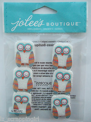 ~OWL REPEATS~ Jolee's Boutique Dimensional Stickers; OWLS in Winter Sweaters