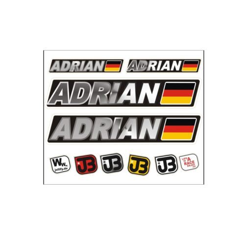 "/""Adrian/"" Auto Fahrrad Motorrad Kart Helm Fahrername Aufkleber Sticker Flagge"