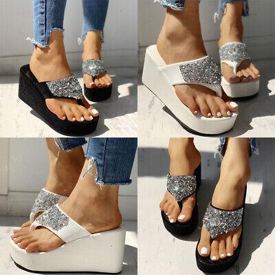⭐Bling Sequin Womens Beach Wedge Sandals Platform Shoes Thong Flip Flops Summer | eBay