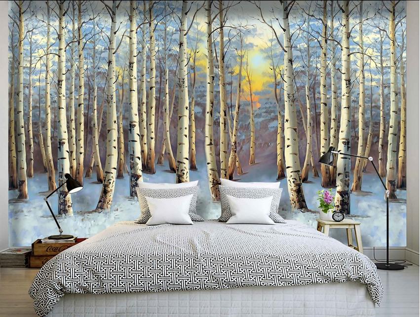 Papel Pintado Mural De Vellón Bosque Nieve Amanecer 2 Paisaje Fondo De PanGröße