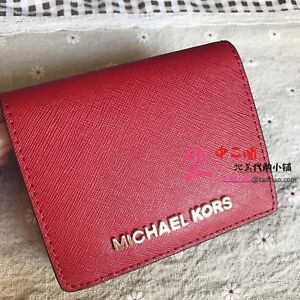039323a2fb24 Michael Kors Jet Set Travel Saffiano Leather Flap Card Holder Wallet ...