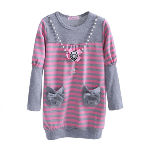 Toddler Girls Knit Dress Tunic Top Kids Long Sleeve Striped Casual Dresses 3-7Y