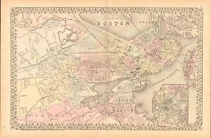 1874 ANTIQUE MAP - USA - MASSACHUSETTS- LARGE PLAN OF BOSTON | eBay