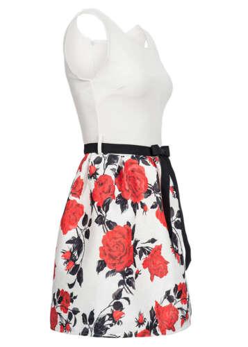 50/% Off b16020450 Femmes 77 Lifestyle robe courte Roses Motif lien à nouer blanc rouge
