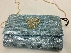 4,000.00 Versace Runway Swarovski blue crystal,gold medusa face ... b51b7af0d2