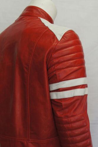 Ian MEN/'S MOTO FASHION Fight Club Film Reale Giacca in Pelle Striscia Bianca